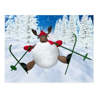 Whimsical Reindeer: Clumsy Skier Postcard