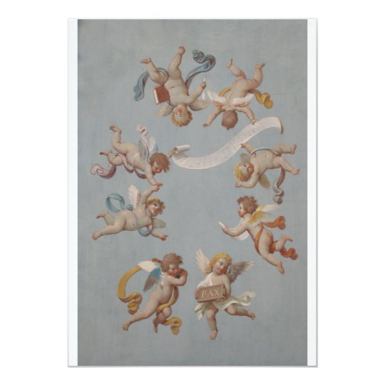 Whimsical Renaissance Cherub Angels 13 Cm X 18 Cm Invitation Card