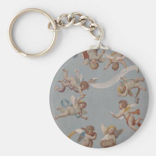 Whimsical Renaissance Cherub Angels Basic Round Button Key Ring