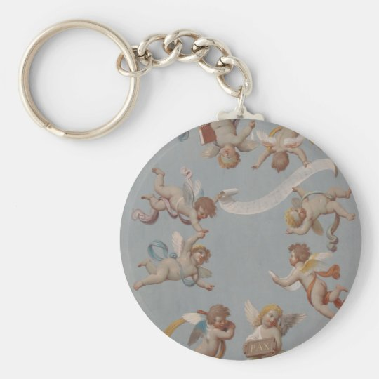 Whimsical Renaissance Cherub Angels Key Ring