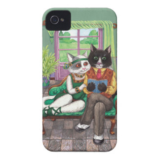 Whimsical Retro Cats from the Roaring 1920s Case-Mate iPhone 4 Cases