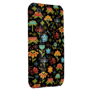 Whimsical Retro Flowers and Birds iPhone 3 Cover