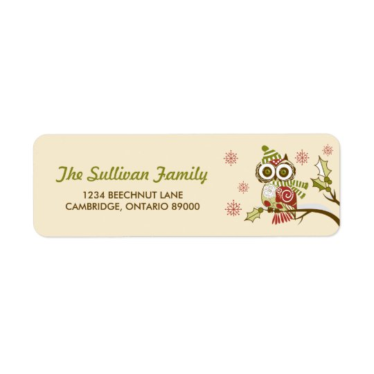 Whimsical Retro Owls and Snowflakes Holiday Label Return Address Label