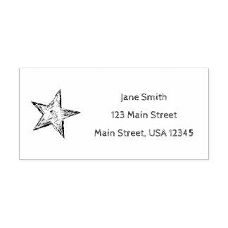 Whimsical Return Address Pencil Sketch Star Self-inking Stamp