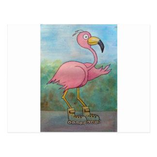 Whimsical Roller Skating Roller Blading Flamingo Postcard