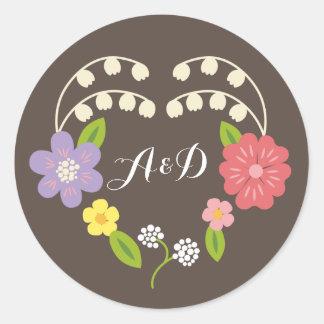 Whimsical Rustic Pastel Flower Heart Wedding Favor Round Sticker