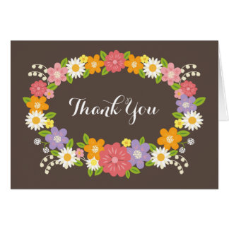 Whimsical Rustic Romantic Flowers Thank You Note Card