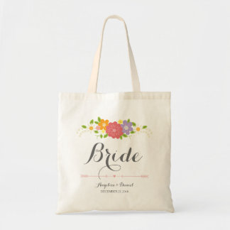 Whimsical Rustic Romantic Pastel Flowers Bride Budget Tote Bag