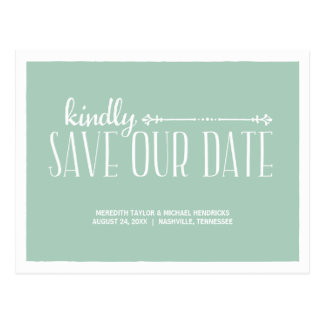 Whimsical Rustic Save the Date Postcard