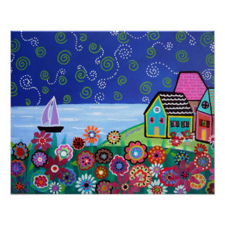WHIMSICAL SAILBOAT PAINTING POSTER