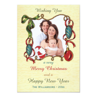 Whimsical Santa and Baubles Holiday Photo Card Personalized Announcement