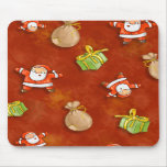whimsical santa and presents pattern mouse pad