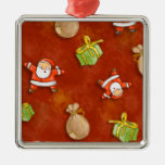 whimsical santa and presents pattern ornaments