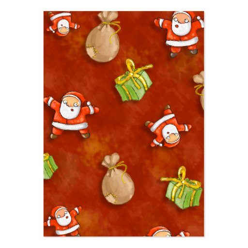 whimsical santa and presents pattern pack of chubby business cards