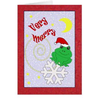 Whimsical Santa Frog Very Merry Christmas Card