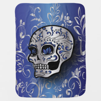 Whimsical sapphire blue and silver skull pramblankets