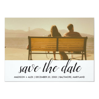 Whimsical Save The Date Typography Couple Photo Card