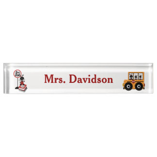 Whimsical School Bus Teacher's Desk Nameplate