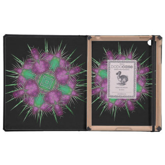 Whimsical Scottish Thistle Head Floral Design Cover For iPad