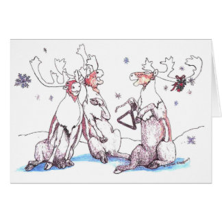 Whimsical Singing Caribou Wildlife Christmas Card