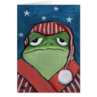 Whimsical Sleepy Frog in Nightcap - Frog Art Card