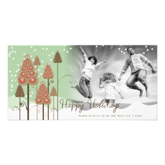 Whimsical Snowing Christmas Trees Fun Holiday Card Personalised Photo Card