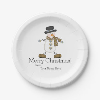 Whimsical Snowman Merry Christmas Paper Plate