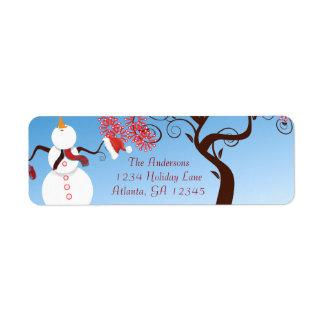 Whimsical Snowman Return Address Return Address Label
