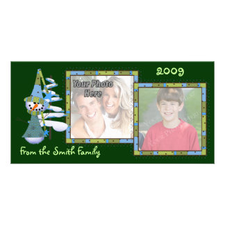 Whimsical Snowmen Double Photo Cards - NEW