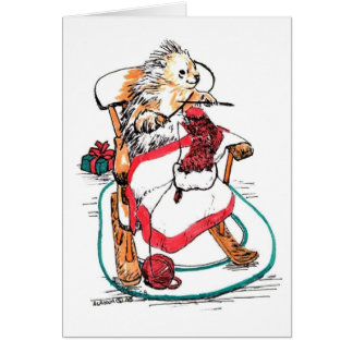 Whimsical Sock Knitting Porcupine Christmas Card