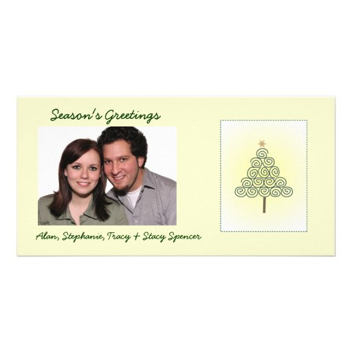Whimsical Spiral Tree Holiday Photo Cards