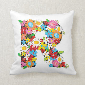 Whimsical Spring Flowers Garden Monog - Customized Pillows