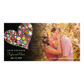 Whimsical Spring Flowers Heart Photo Save The Date Photo Card Template