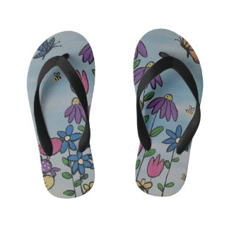 Whimsical Spring Flowers Kids Flip Flops Thongs