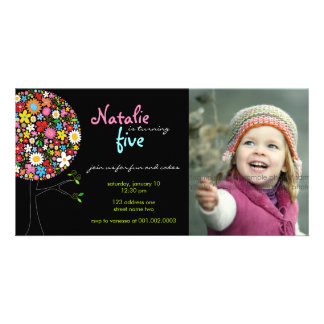 Whimsical Spring Flowers Pop Tree Kid Birthday Custom Photo Card