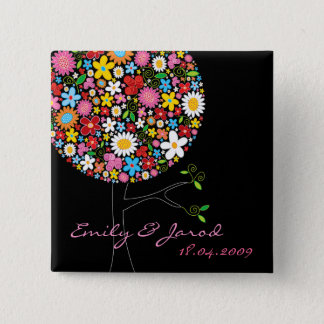 Whimsical Spring Flowers Pop Tree Wedding Button