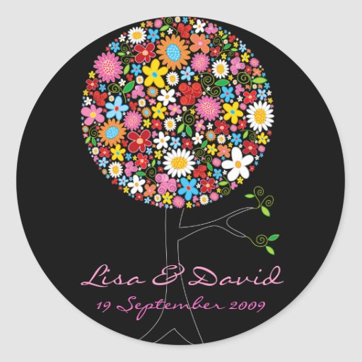 Whimsical Spring Flowers Pop Tree Wedding Sticker