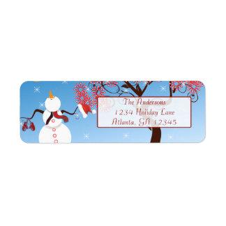 Whimsical Star Snowman Return Address Return Address Label