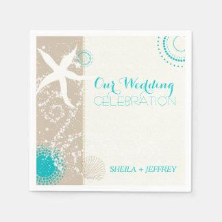 Whimsical Starfish + Beach Sand Wedding Disposable Serviette