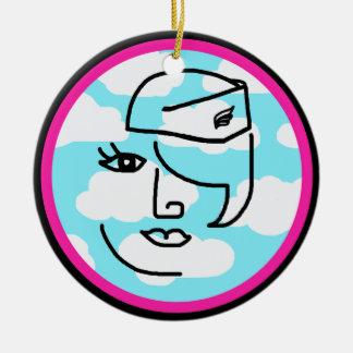 Whimsical Stewardess Design Hot Pink & Black Ceramic Ornament