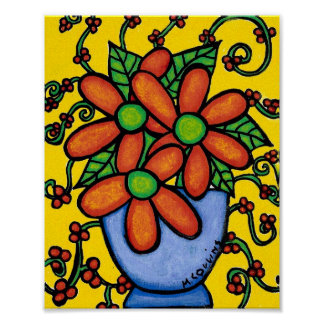 Whimsical Still Life Flowers In Vase Poster