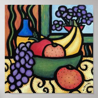 Whimsical Still Life Fruit Bowl Poster