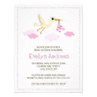 Whimsical stork baby shower invitation for girls