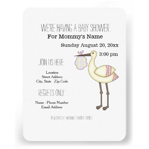 Whimsical Stork Baby Shower Invitations - Pink