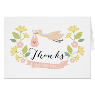 Whimsical Stork Baby Shower Thank You note card