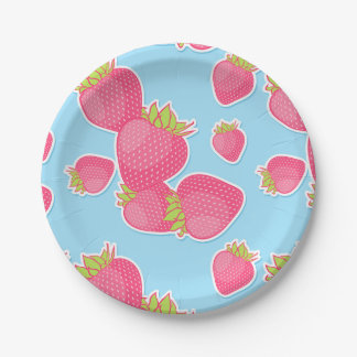 Whimsical Strawberry Pattern on Blue Paper Plate