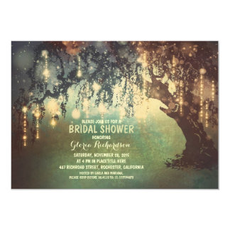 "whimsical string lights tree bridal shower 5"" x 7"" invitation card"
