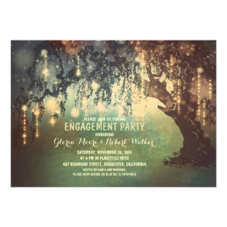 whimsical string lights tree engagement party personalized invites