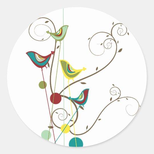 Whimsical Summer Birds Swirls Modern Nature Vines Classic Round Sticker