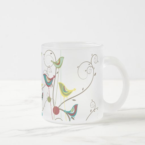 Whimsical Summer Birds Swirls Modern Nature Vines Frosted Glass Mug